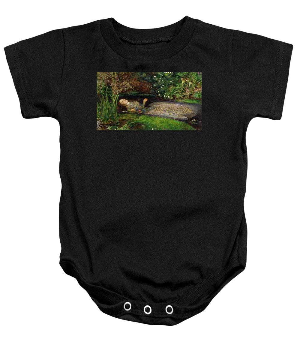 Ophelia Baby Onesie featuring the painting Ophelia by Philip Ralley