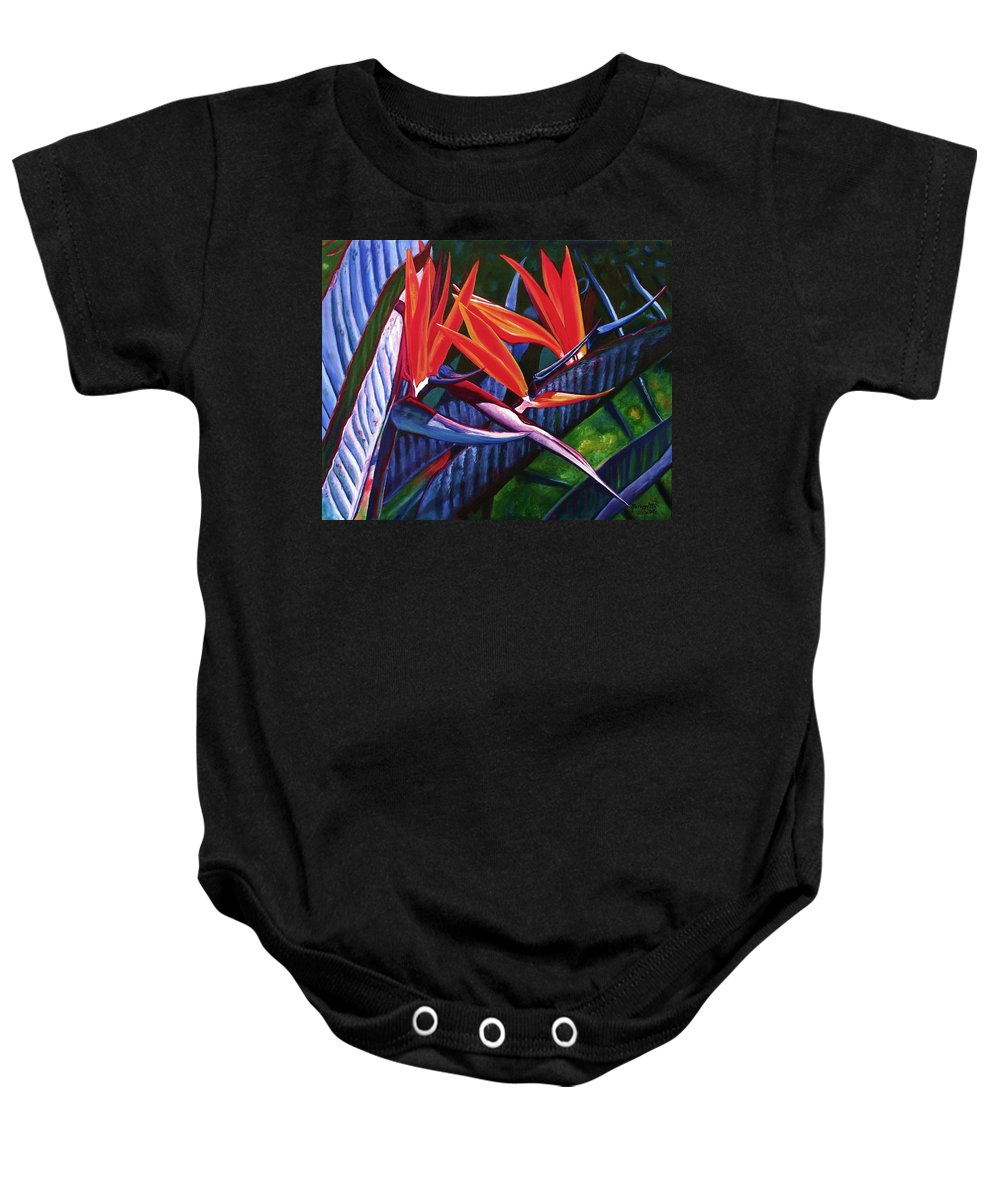Bird Of Paradise Baby Onesie featuring the painting Passion For Paradise by Marionette Taboniar