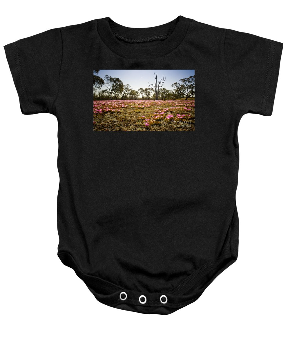Flora Baby Onesie featuring the photograph Pink Wildflowers by Tim Hester