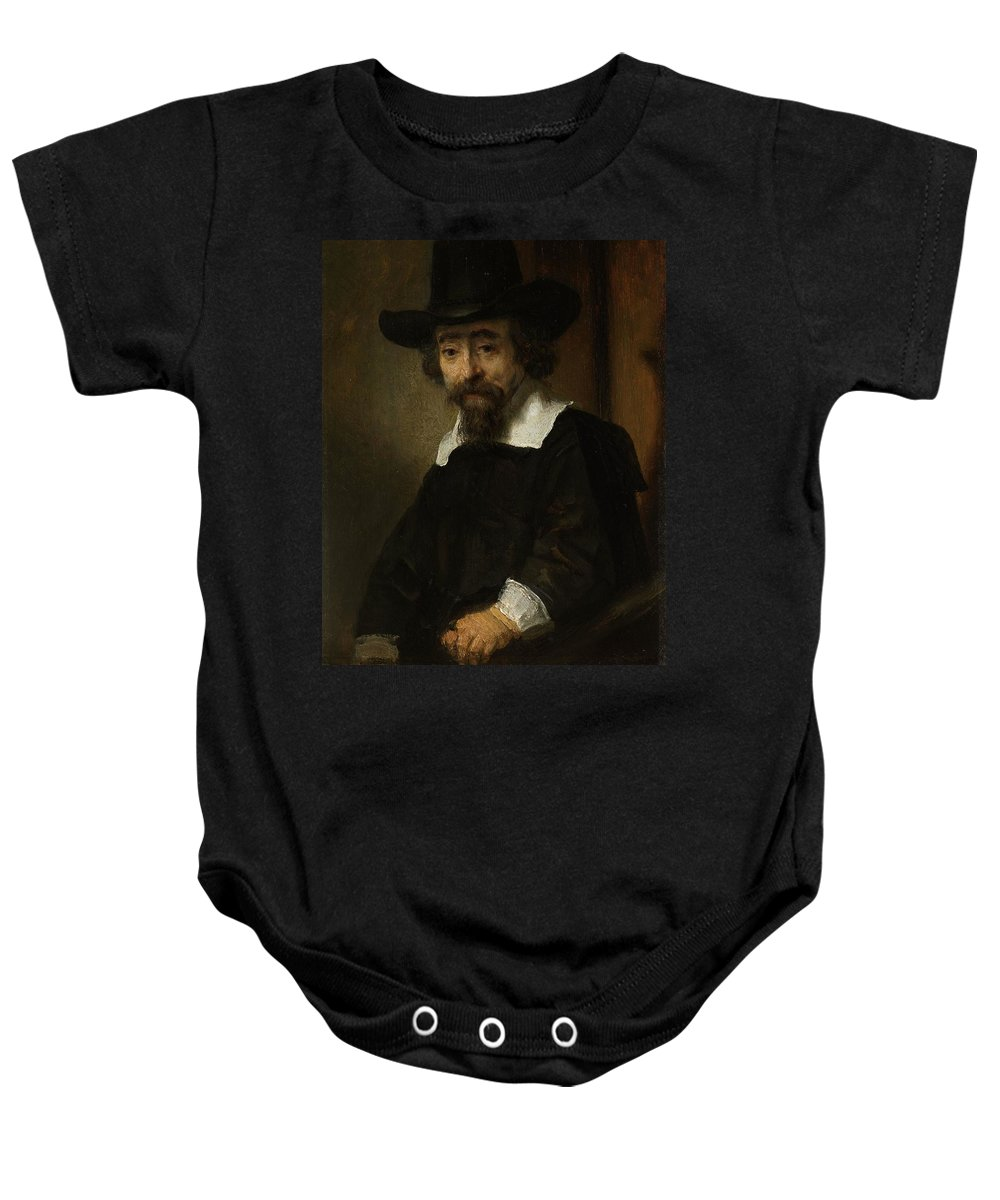 1645-1647 Baby Onesie featuring the painting Portrait Of A Man by Rembrandt van Rijn