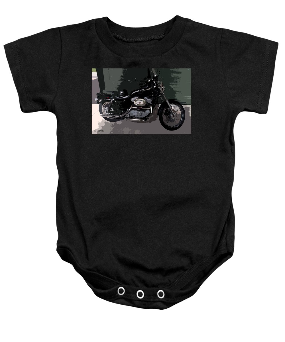 Harley Davidson Baby Onesie featuring the painting Ready To Ride by George Pedro