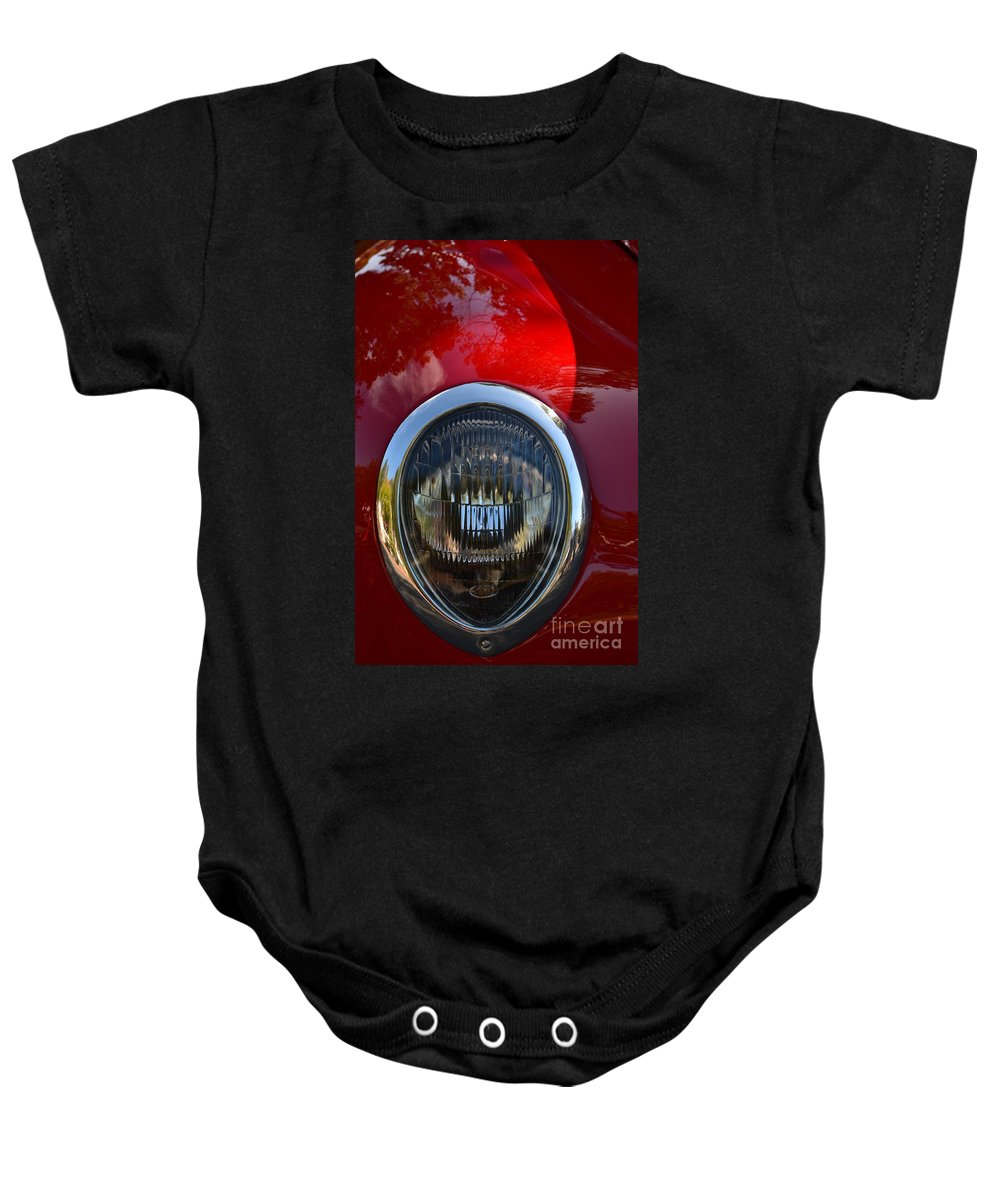 Baby Onesie featuring the photograph Red Classic Ford by Dean Ferreira