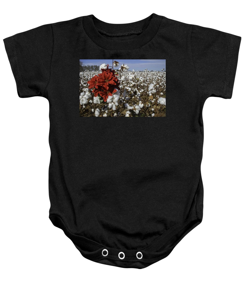 Christmas Baby Onesie featuring the digital art Red In The Cotton by Michael Thomas