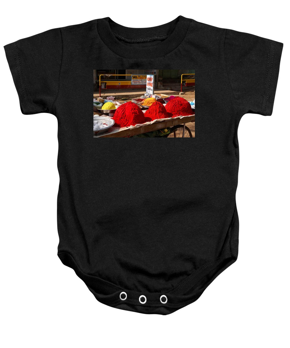 Coloured Powder Baby Onesie featuring the digital art Red Powder by Carol Ailles