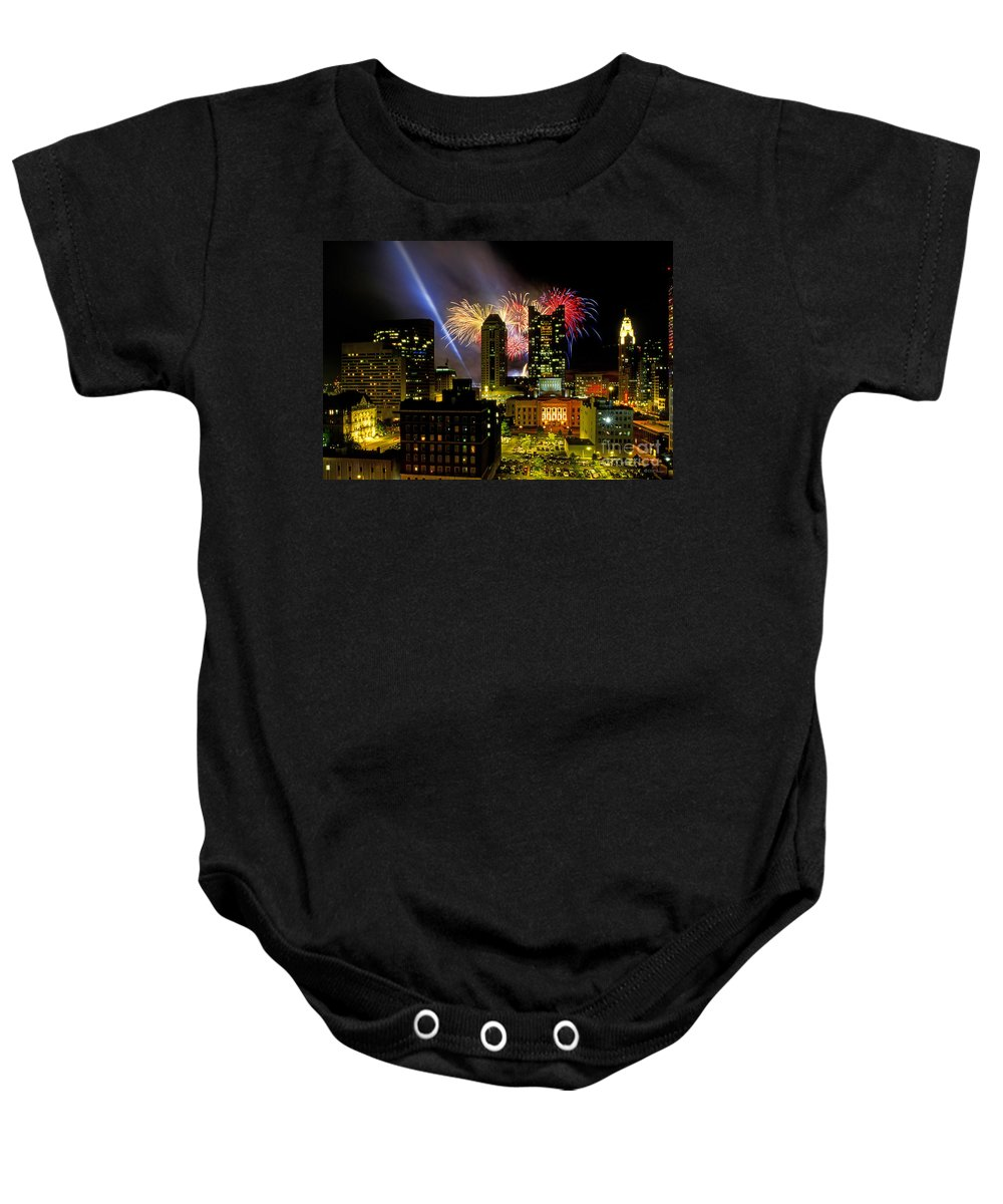Red White And Boom Baby Onesie featuring the photograph 21l334 Red White And Boom Fireworks Display Photo by Ohio Stock Photography