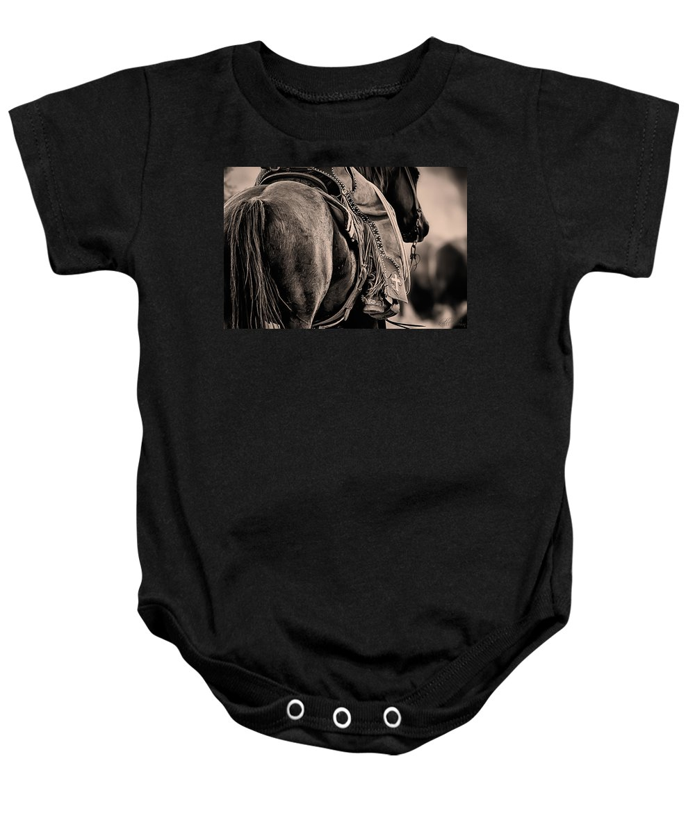 Quarter Horse Baby Onesie featuring the photograph Riding For The Brand by Kelli Brown