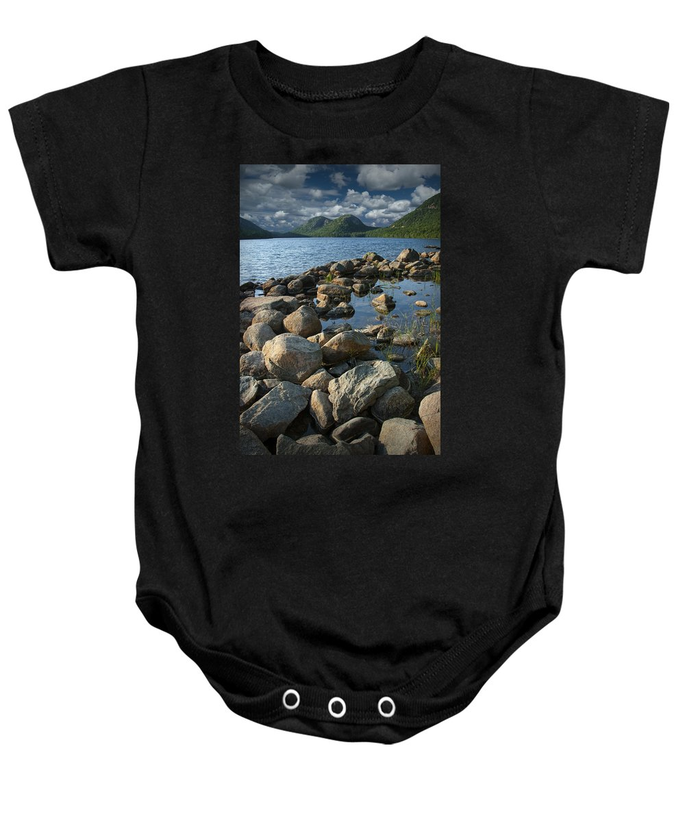 Art Baby Onesie featuring the photograph Rocky Shoreline In Acadia National Park by Randall Nyhof