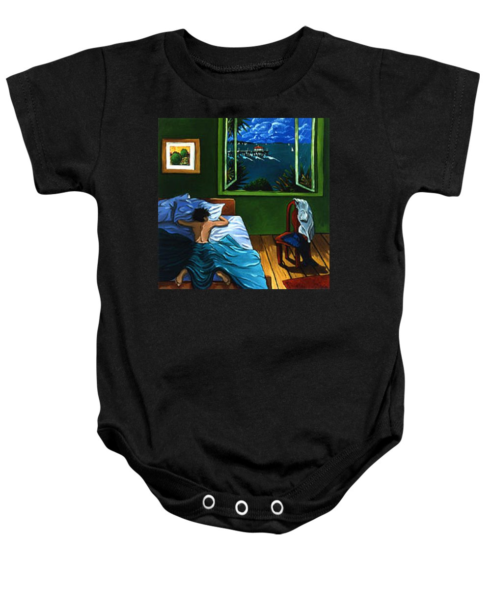 Beach House Baby Onesie featuring the painting Room With A View by Lance Headlee