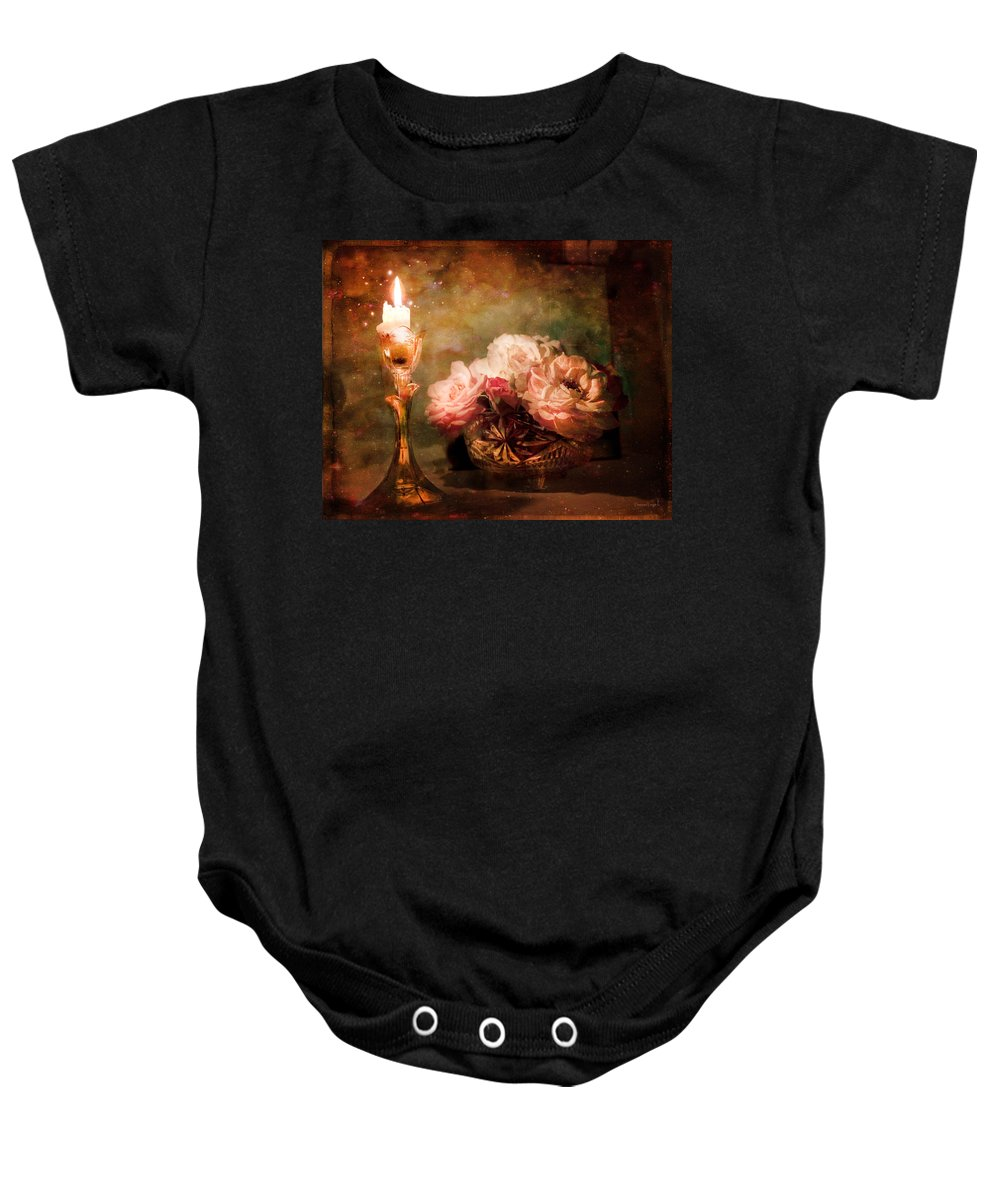 Vintage Still Life Baby Onesie featuring the photograph Roses By Candlelight by Theresa Tahara