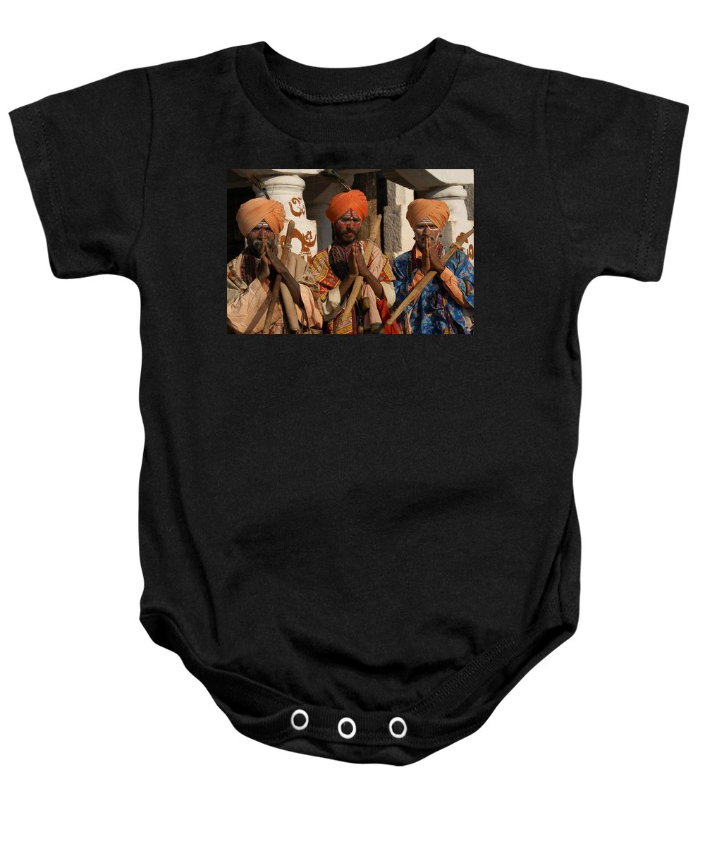 Hampi Baby Onesie featuring the digital art Sadus Holy Men Of India by Carol Ailles