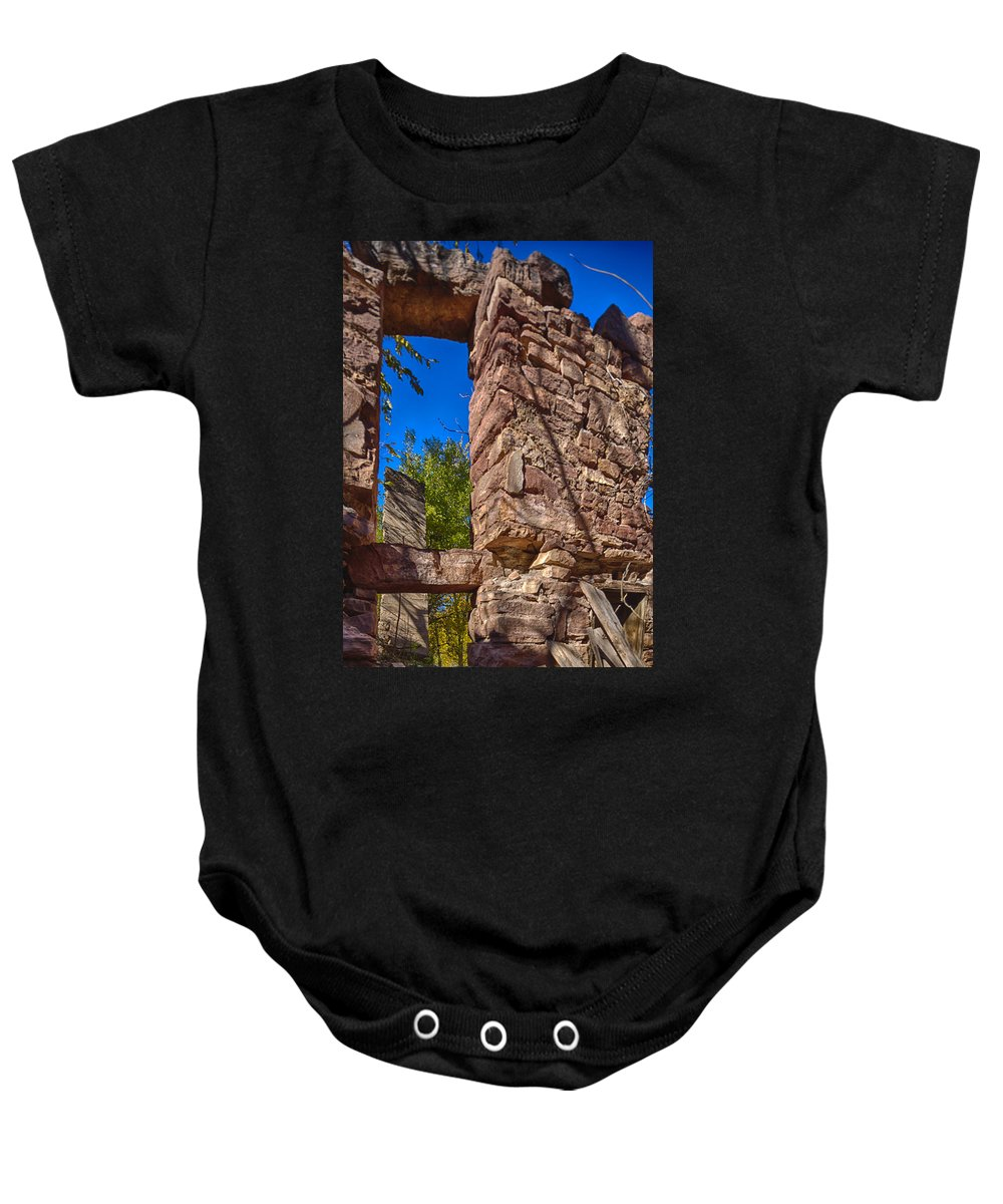 Abandoned Baby Onesie featuring the photograph Sandstone Arch Jerome Black And White by Scott Campbell