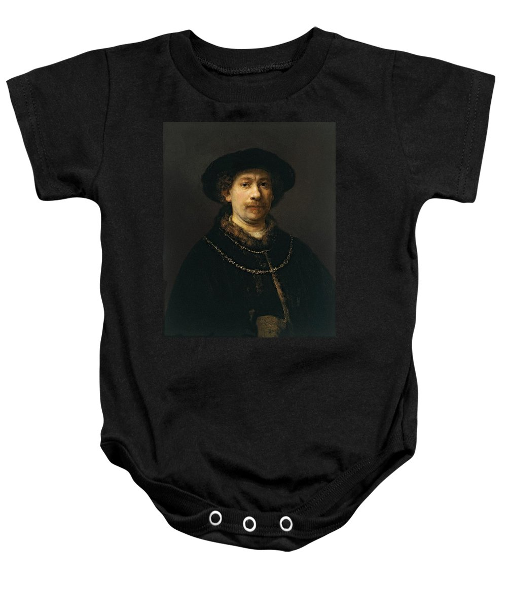 1642-1643 Baby Onesie featuring the painting Self-portrait Wearing A Hat And Two Chains by Rembrandt van Rijn