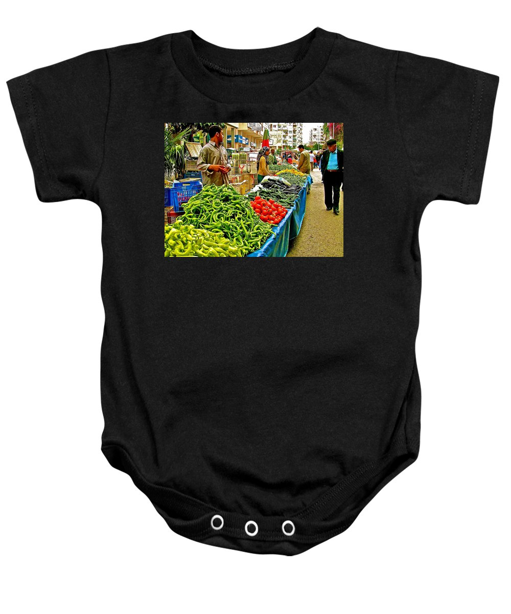 Selling Fresh Vegetables In Antalya Market Baby Onesie featuring the photograph Selling Fresh Vegetables In Antalya Market-turkey by Ruth Hager