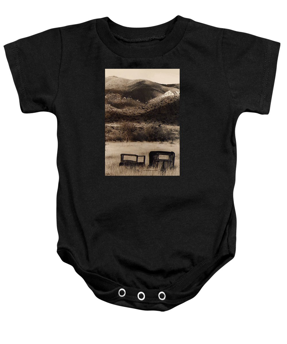 Severed Car Dos Cabezos Mountains Ghost Town Dos Cabezos Arizona 1967 Baby Onesie featuring the photograph Severed Car Dos Cabezos Mountains Ghost Town Dos Cabezos Arizona 1967 by David Lee Guss