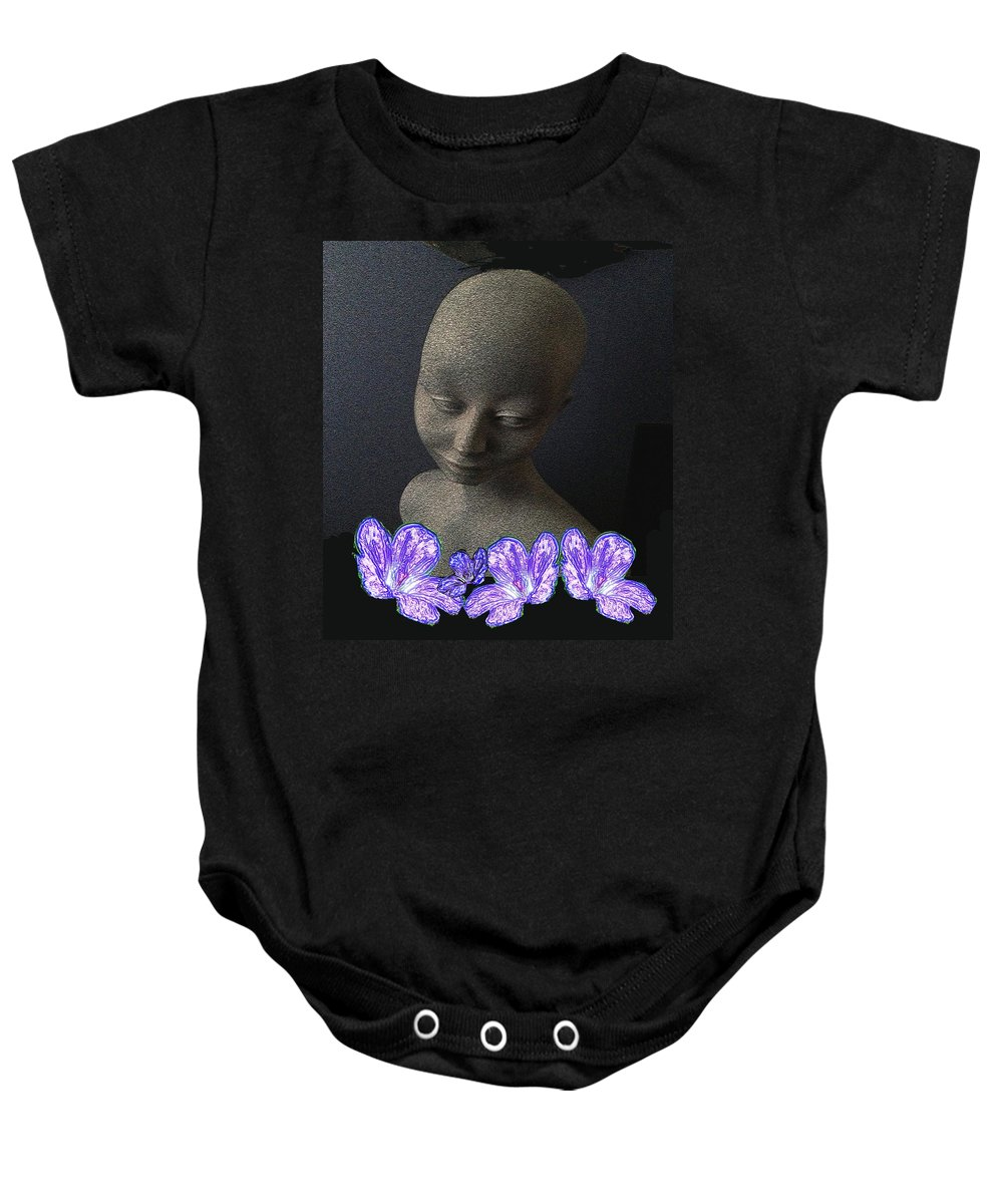 Female Baby Onesie featuring the mixed media Simplicity In Purple by Pepita Selles