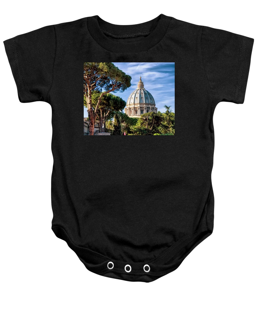 St Peters Baby Onesie featuring the photograph St Peters Basilica Dome by Jon Berghoff