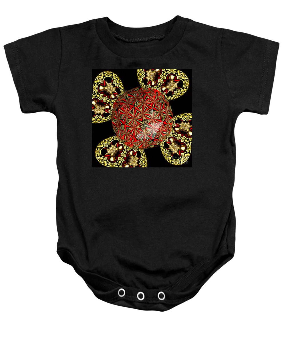 Stained Glass Baby Onesie featuring the photograph Stained Glass Kaleidoscope Under Glass by Rose Santuci-Sofranko