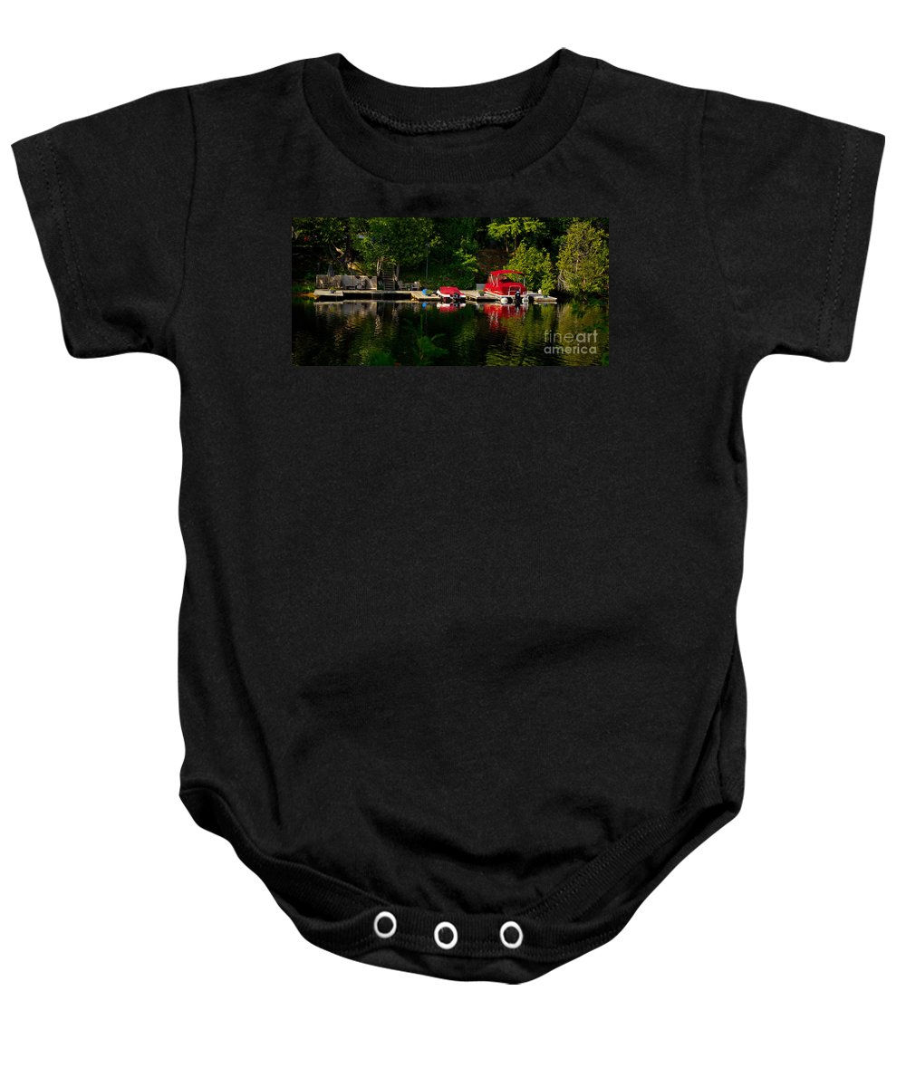 Early.morning Baby Onesie featuring the photograph Summer Morning On Muskoka River by Les Palenik