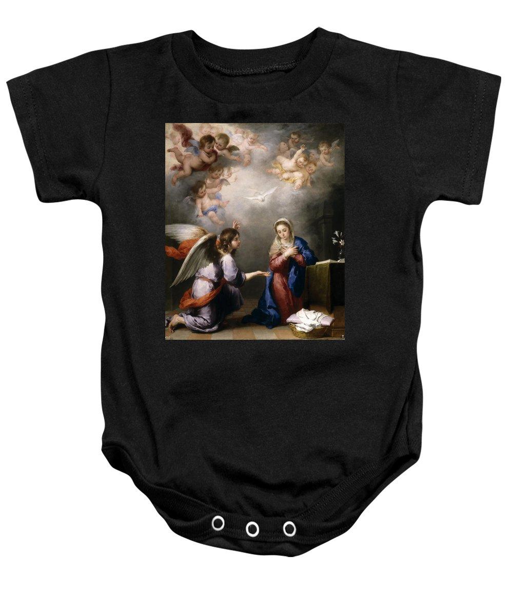 Bartolome Esteban Murillo Baby Onesie featuring the painting The Annunciation by Bartolome Esteban Murillo