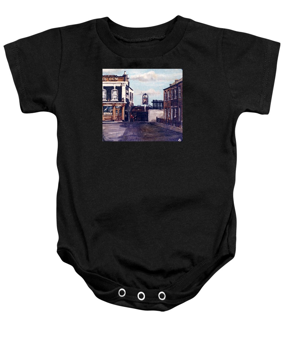 Gun Public House Baby Onesie featuring the painting The Gun Public House Isle Of Dogs London by Mackenzie Moulton