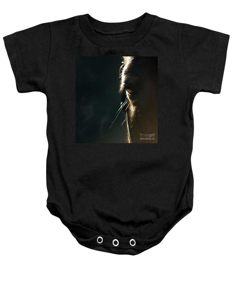 Horse Baby Onesie featuring the photograph the Look by Angel Ciesniarska
