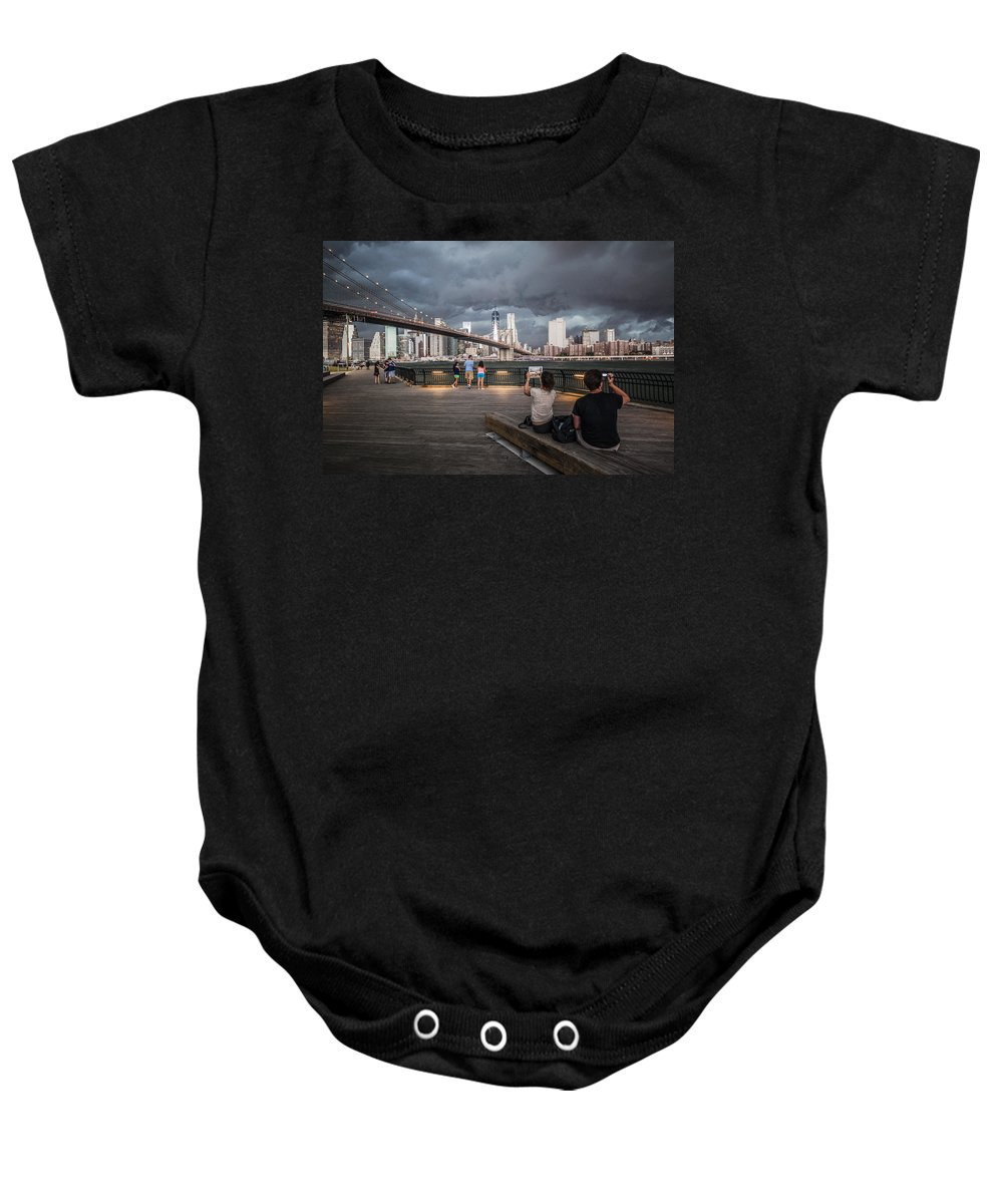 Manhattan Baby Onesie featuring the photograph The Storm Over Manhattan by Alex Potemkin