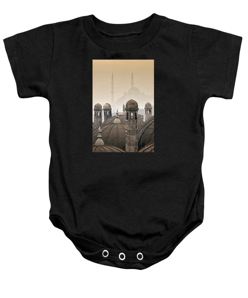 The Suleymaniye Mosque Baby Onesie featuring the photograph The Suleymaniye Mosque And New Mosque In The Backround by Ayhan Altun