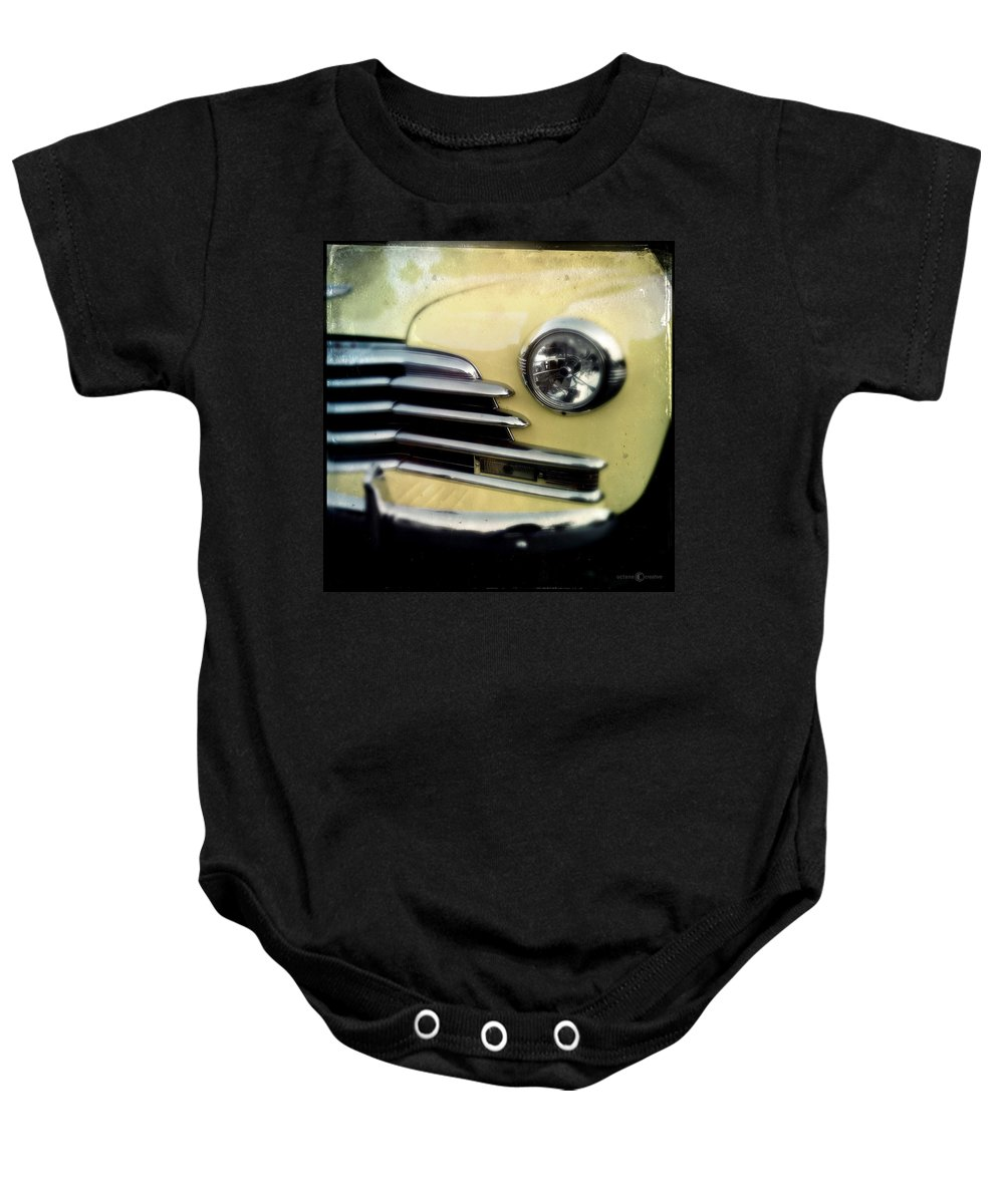 Classic Baby Onesie featuring the photograph Yellow Chevrolet by Tim Nyberg