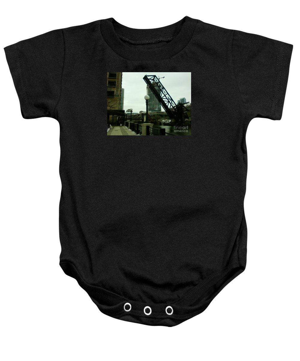 Chicago Baby Onesie featuring the photograph Kinzie Street Bridge by Alfie Martin