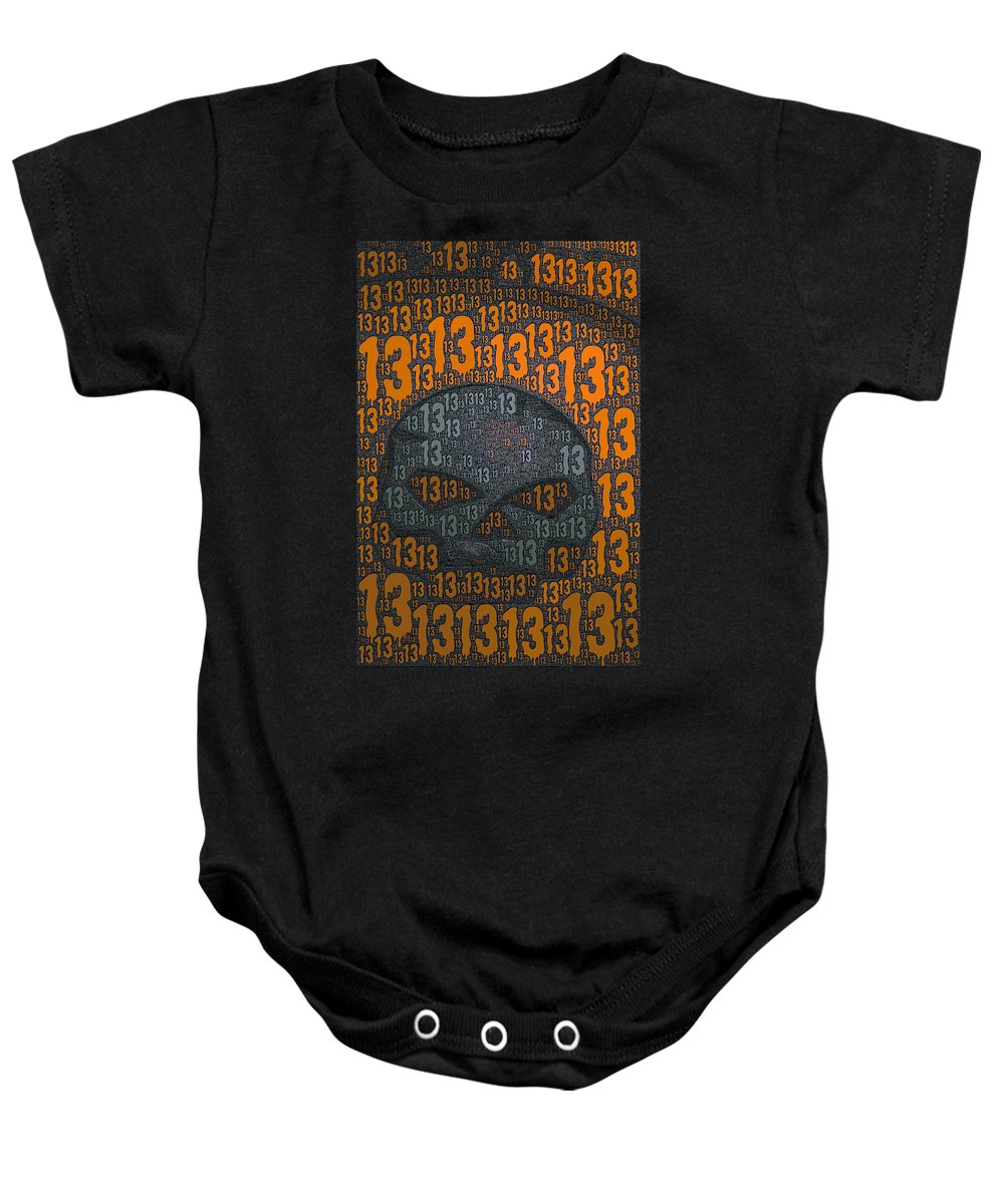 13 Baby Onesie featuring the photograph 13 Skull by Bill Owen