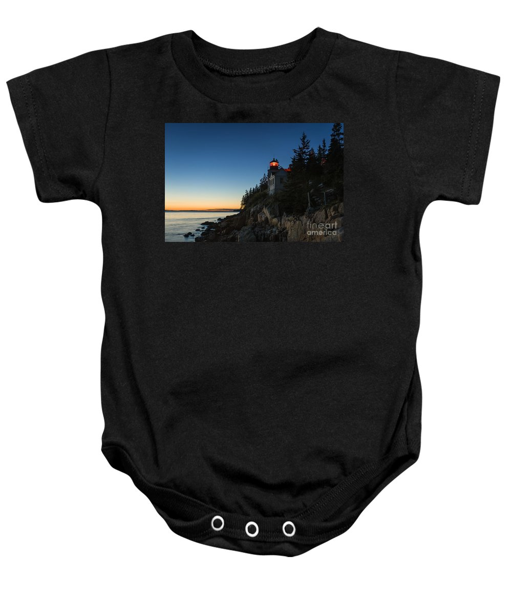 Acadia Baby Onesie featuring the photograph Bass Harbor Lighthouse by John Greim