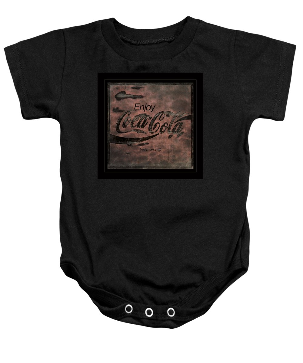 Coca Cola Baby Onesie featuring the photograph Coca Cola Sign Grungy Retro Style by John Stephens