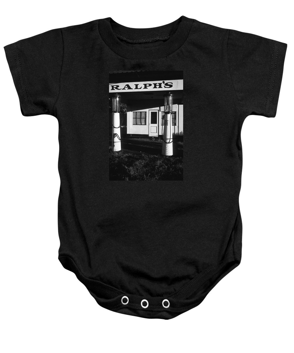 1929 Ralph's Service Station Armory Park Tucson Arizona Black And White Baby Onesie featuring the photograph 1929 Ralph's Service Station Armory Park Tucson Arizona by David Lee Guss