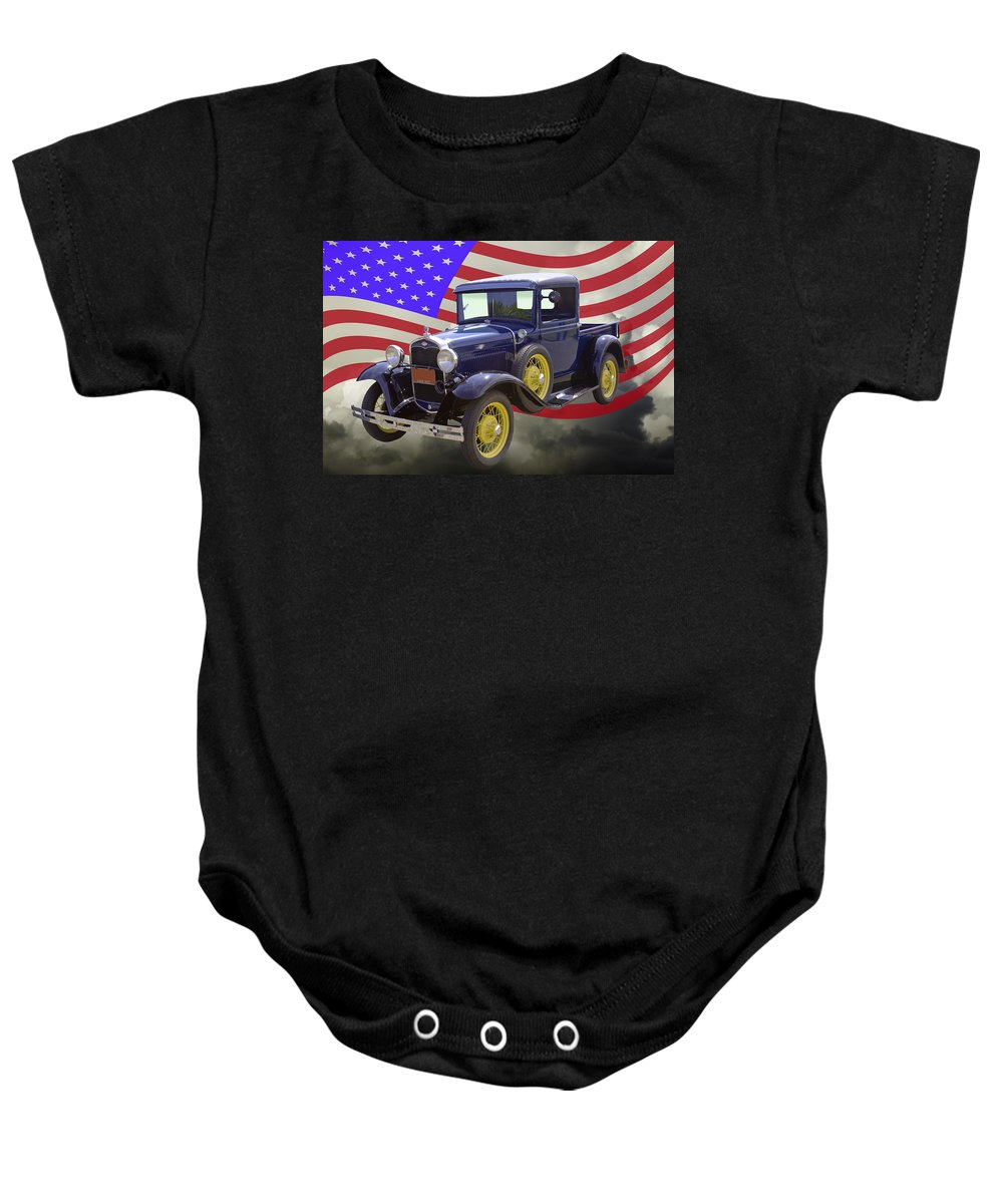 Model A Ford Baby Onesie featuring the photograph 1930 Model A Ford Pickup Truck And American Flag by Keith Webber Jr