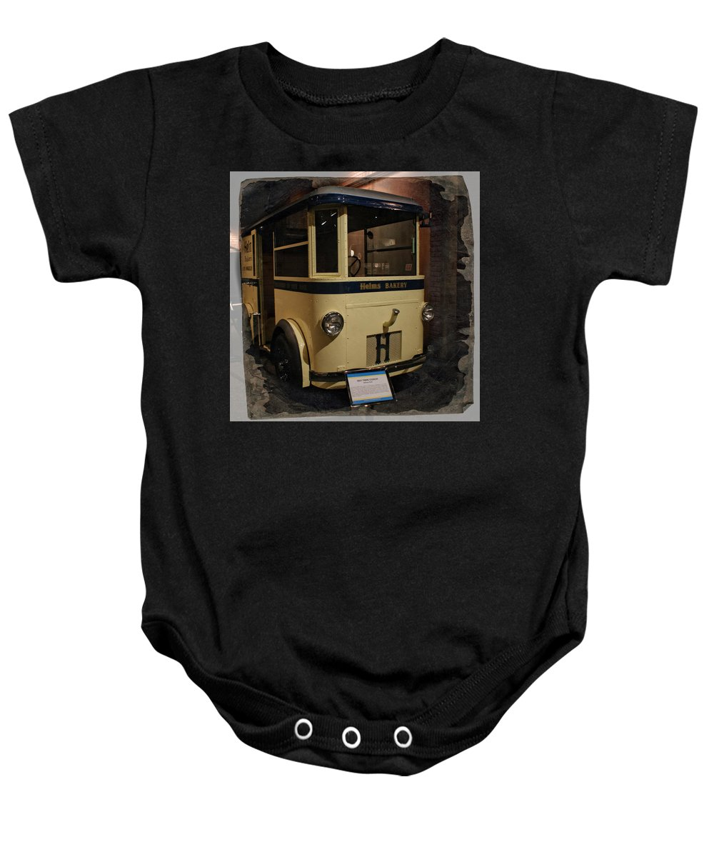 Helms Bakery Truck Baby Onesie featuring the photograph 1931 Helms Bakery Truck Square by Ernie Echols