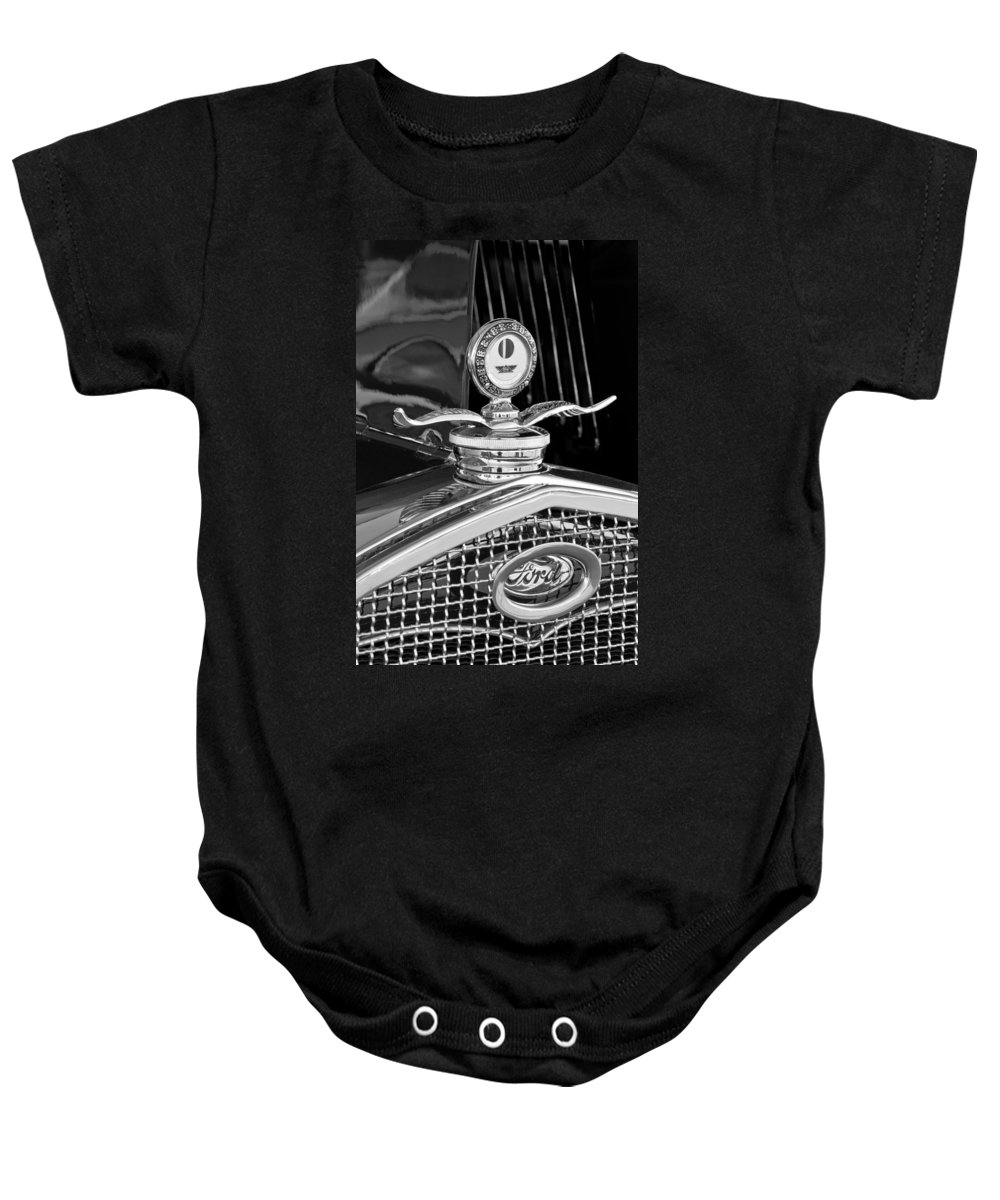 1931 Model A Ford Deluxe Roadster Baby Onesie featuring the photograph 1931 Model A Ford Deluxe Roadster Hood Ornament 2 by Jill Reger