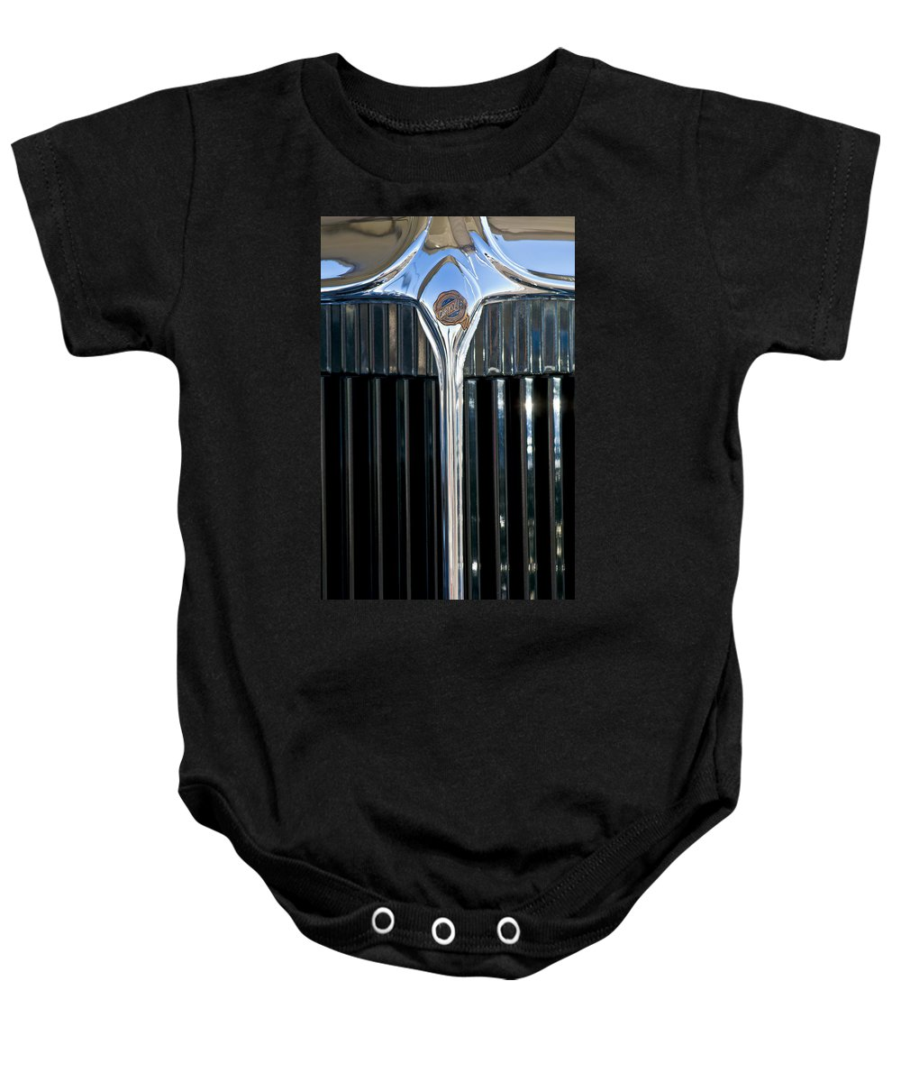 1932 Chrysler Victoria Baby Onesie featuring the photograph 1932 Chrysler Hood Ornament by Jill Reger