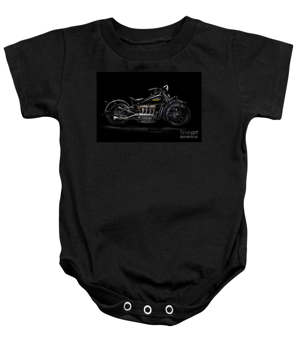 Motorcycle Baby Onesie featuring the photograph 1933 Indian Four by Frank Kletschkus