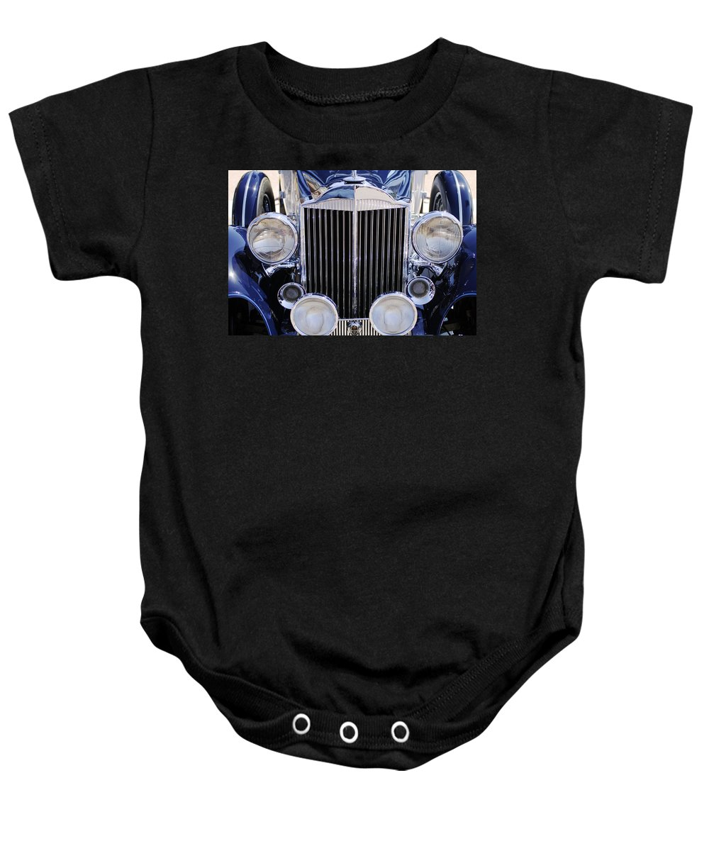 1933 Packard 12 Convertible Coupe Grille Baby Onesie featuring the photograph 1933 Packard 12 Convertible Coupe Grille by Jill Reger