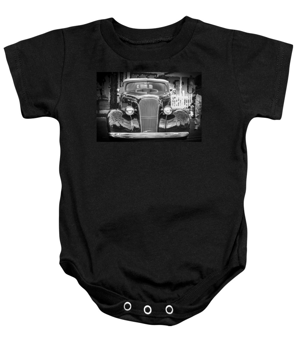 1937 Chevrolet Baby Onesie featuring the photograph 1937 Chevrolet Custom Convertible Bw by Rich Franco