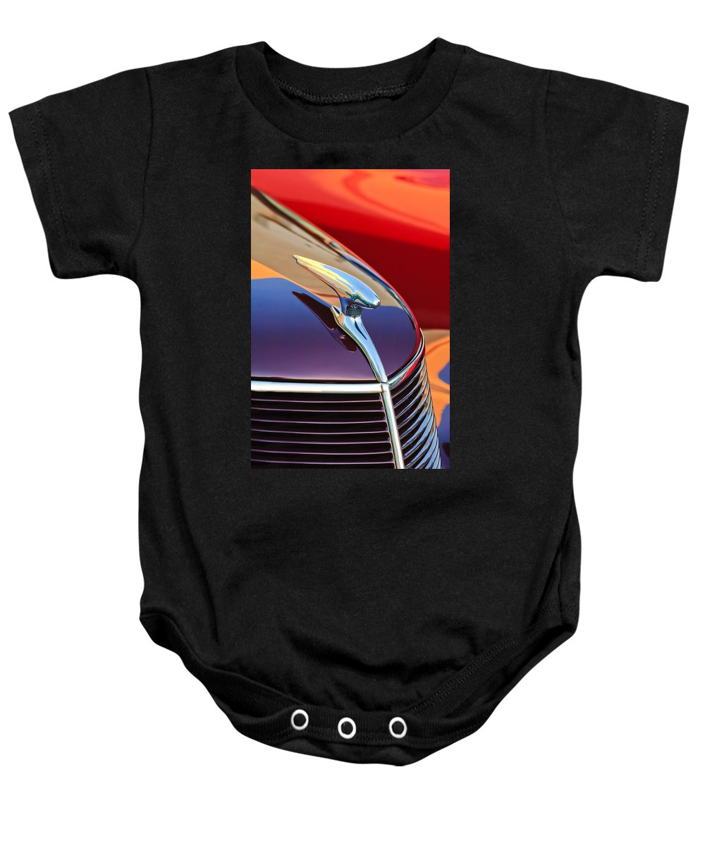 1937 Ford Baby Onesie featuring the photograph 1937 Ford Hood Ornament 2 by Jill Reger