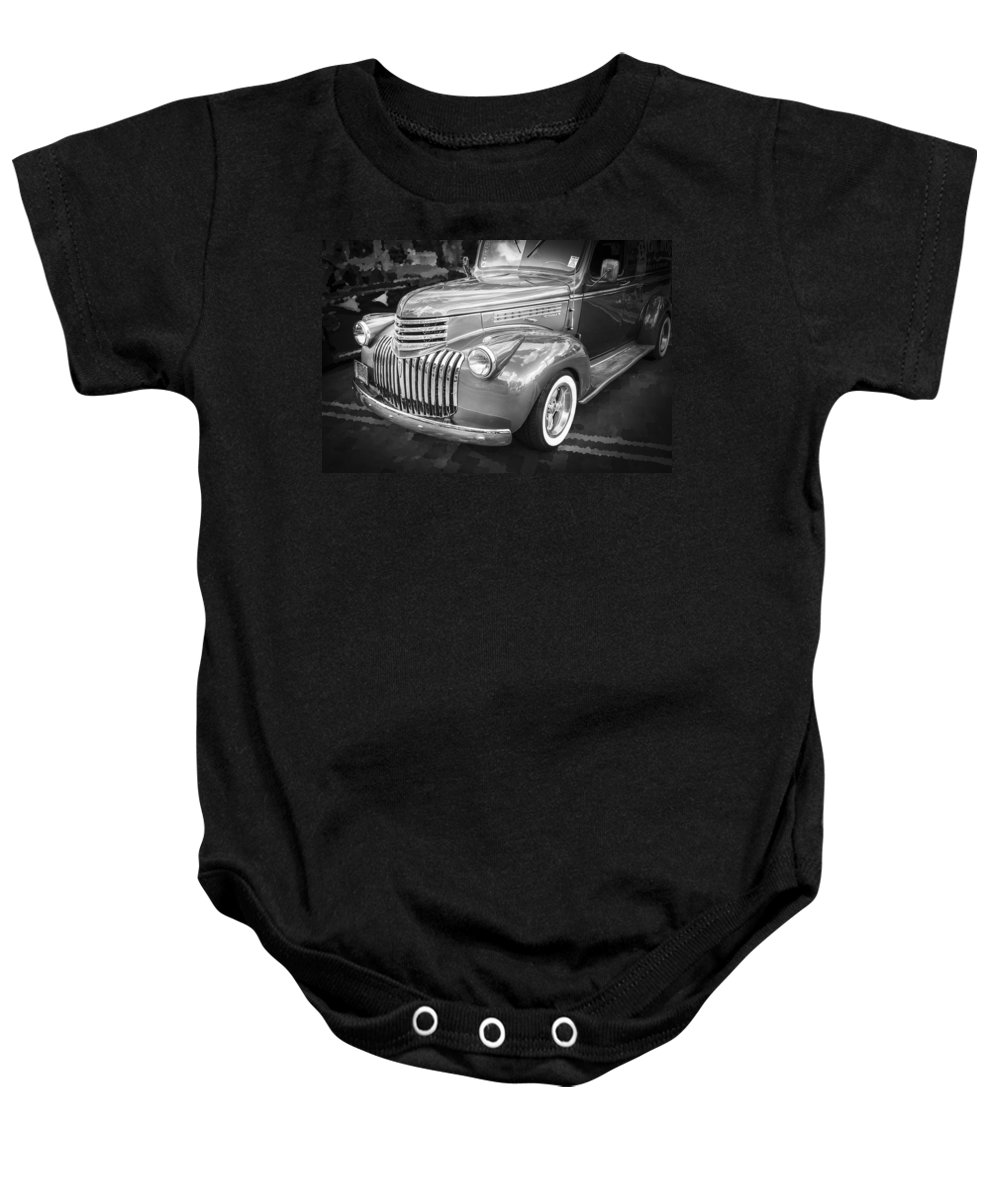 1946 Chevrolet Baby Onesie featuring the photograph 1946 Chevrolet Sedan Panel Delivery Truck Bw by Rich Franco
