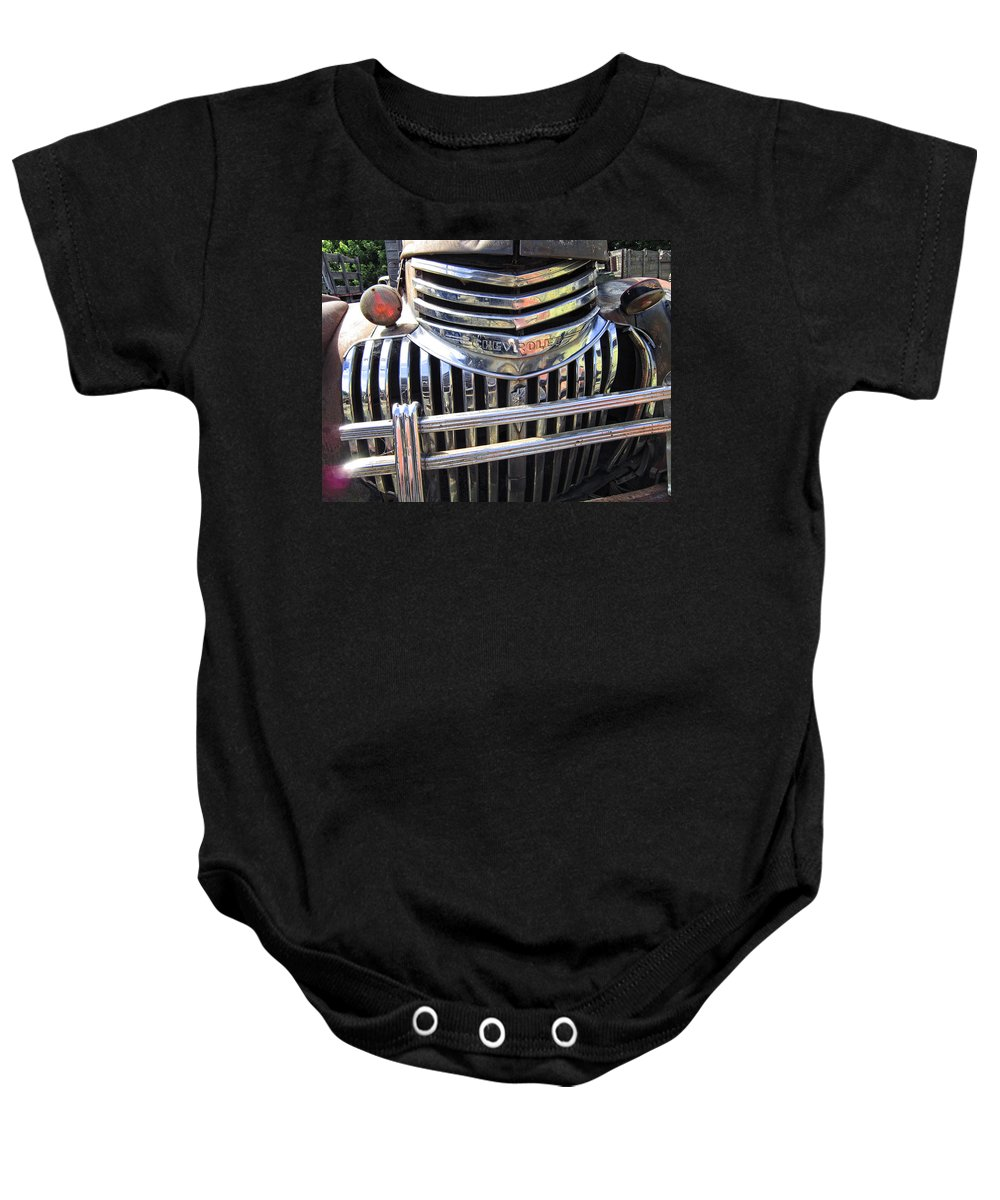 Chevy Baby Onesie featuring the photograph 1946 Chevrolet Truck Chrome Grill by Daniel Hagerman