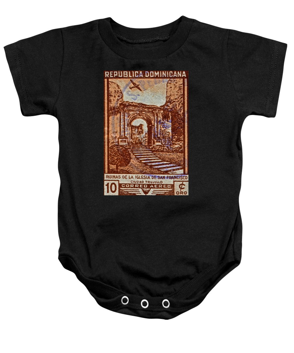 1949 Baby Onesie featuring the photograph 1949 San Francisco Ruins Dominican Republic Stamp by Bill Owen