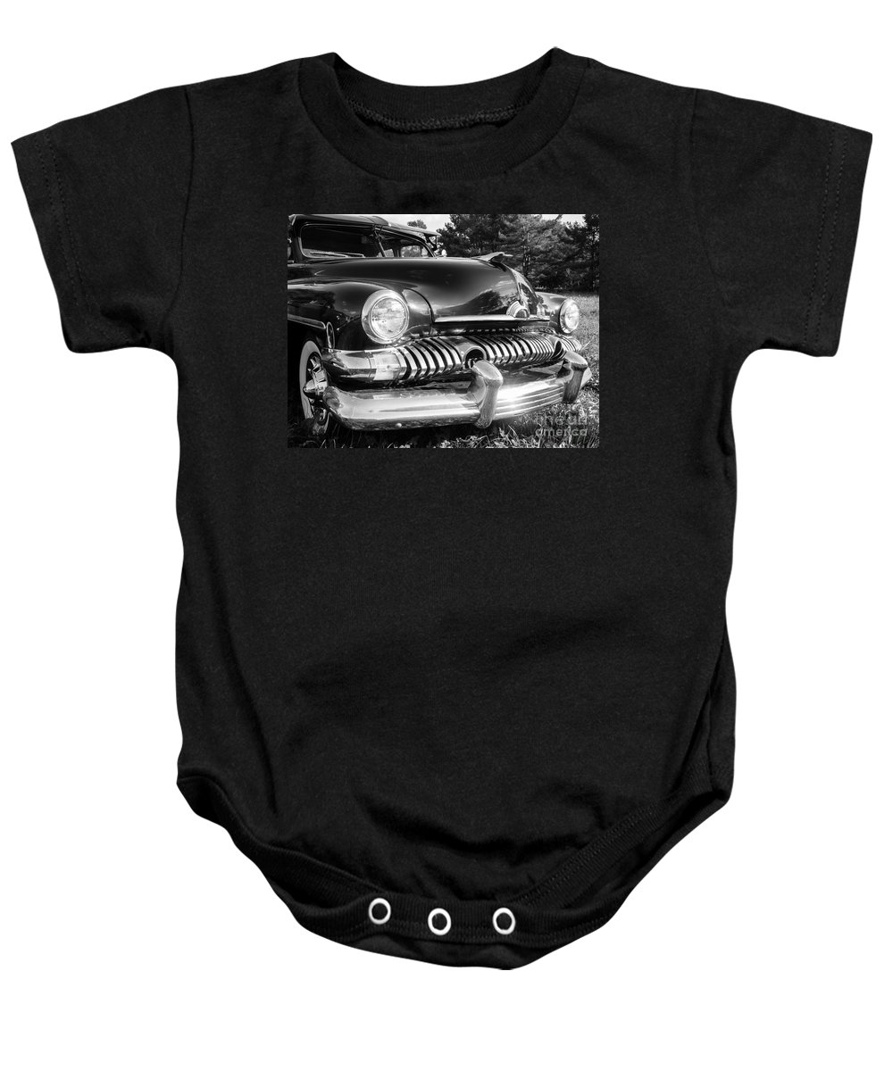 Ford Mercury Coupe 1950s American Graffiti Car Classic Vintage Old Grill Chrome Black White Hot Rod Street V8 Hood Ornament 1951 Baby Onesie featuring the photograph 1951 Mercury Coupe - American Graffiti by Edward Fielding