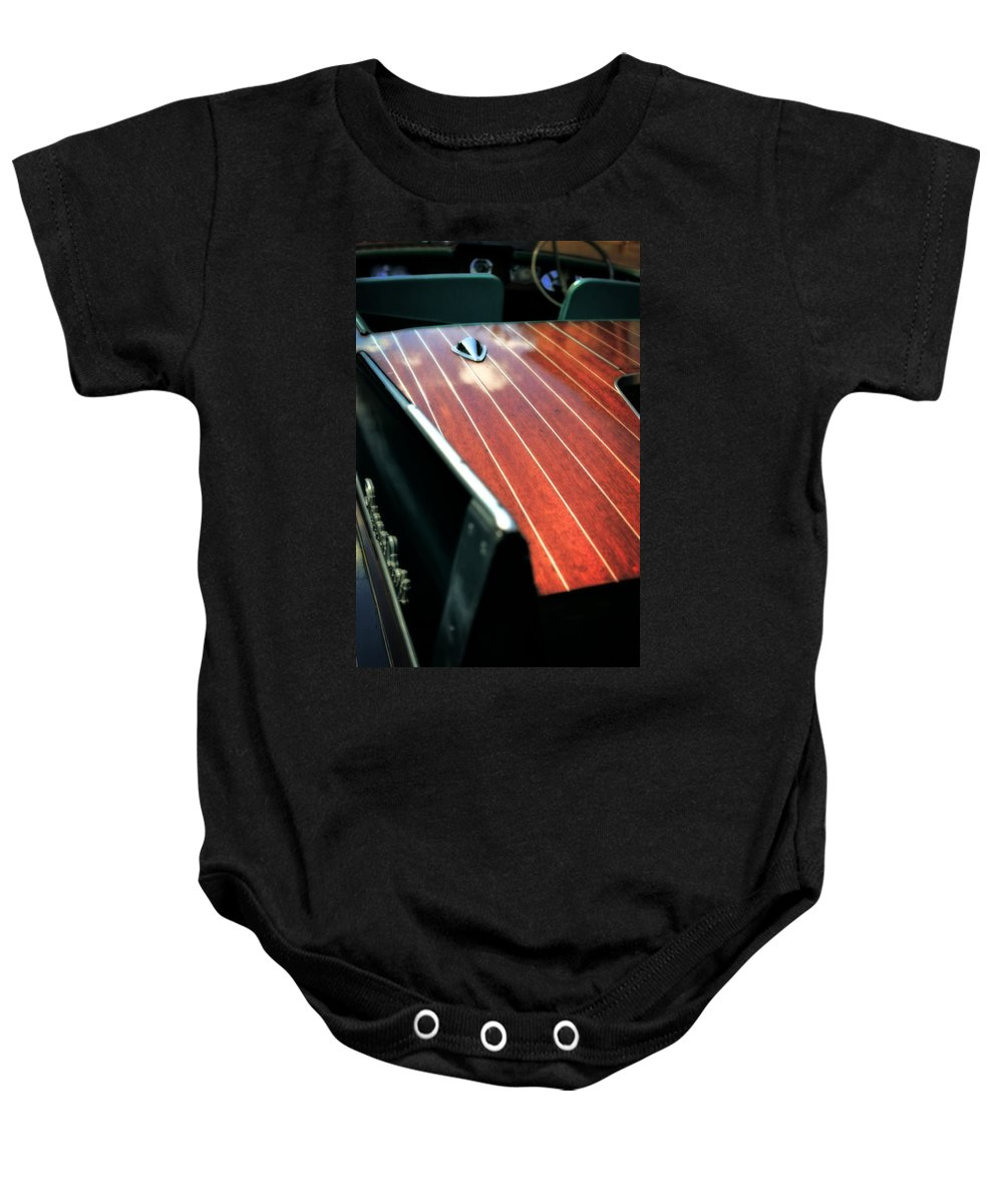Classic Boat Baby Onesie featuring the photograph 1958 Skipper Craft by Michelle Calkins