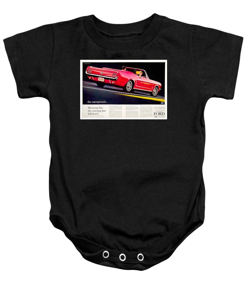 1964 Baby Onesie featuring the digital art 1964 - Ford Mustang Convertible - Advertisement - Color by John Madison