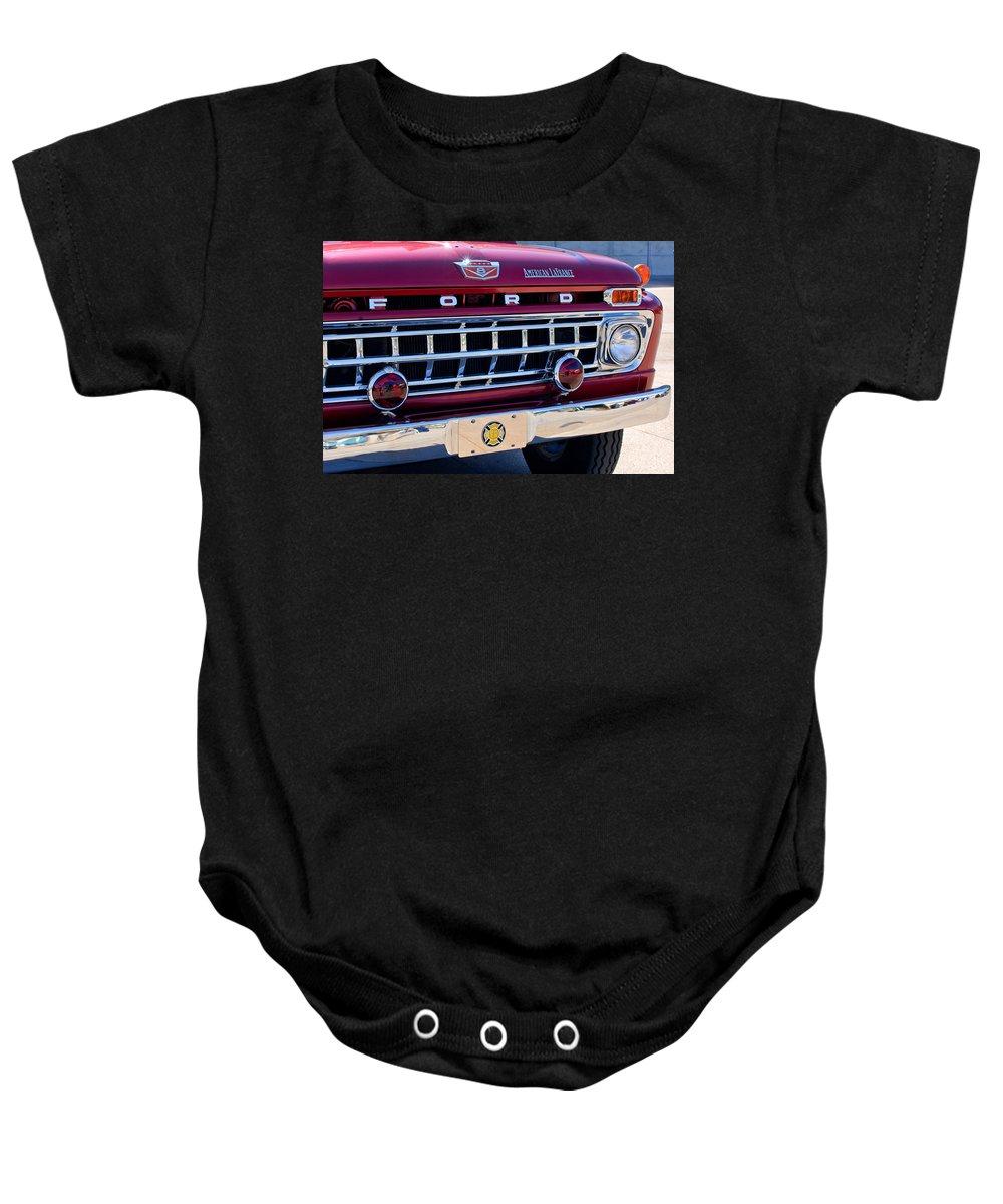 1965 Ford American Lafrance Fire Truck Baby Onesie featuring the photograph 1965 Ford American Lafrance Fire Truck by Jill Reger