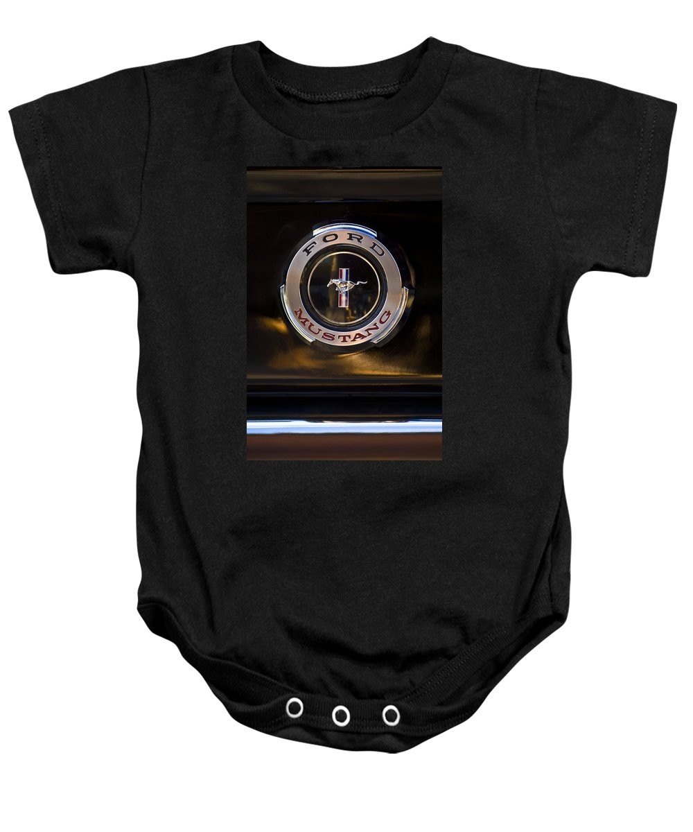 1965 Shelby Prototype Ford Mustang Emblem Baby Onesie featuring the photograph 1965 Shelby Prototype Ford Mustang Emblem 2 by Jill Reger