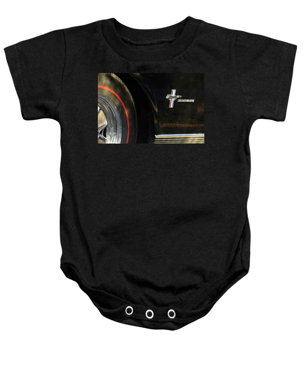 1965 Shelby Prototype Ford Mustang Emblem Baby Onesie featuring the photograph 1965 Shelby Prototype Ford Mustang Emblem -0248c by Jill Reger